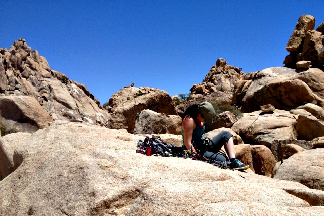 Top rope climbing in Joshua Tree National Park