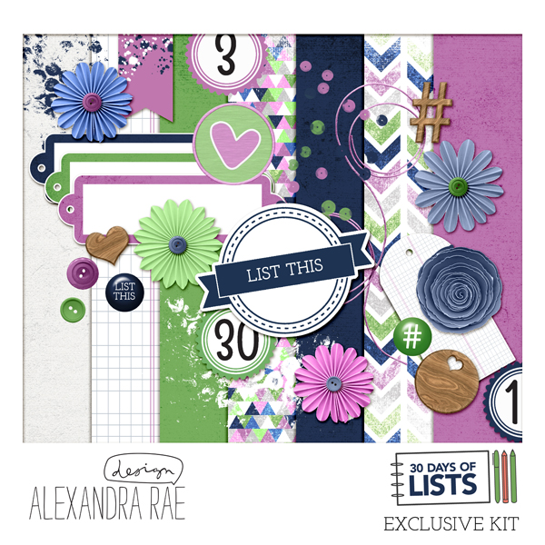 Digital Scrapbooking Kit by Allie of Alexandra Rae Design for 30 Days of Lists - Campfire Chic