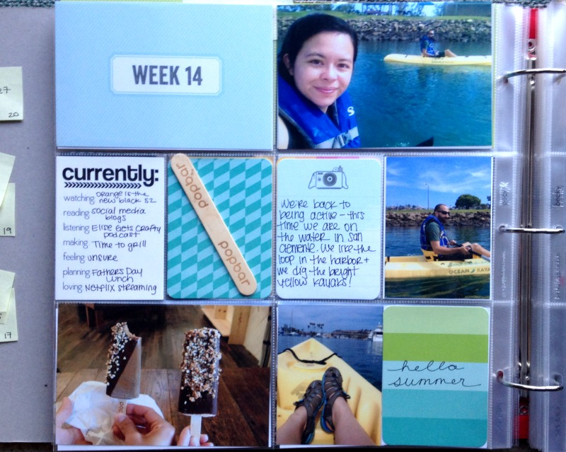 Project Life Week 14 Kayaking and Blue Layout